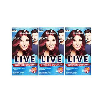 Schwarzkopf LIVE Intense 086 Pure Purple Pro Permanent Hair Colour Dye x 3