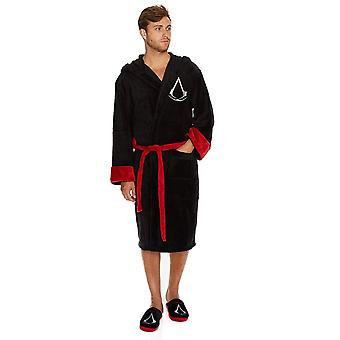 Assassins Creed Black Robe inc Logo & Peaked hood Bathrobe One Size
