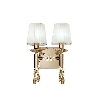 Mantra M3863FG/S Tiffany muur lamp schakelde 2 + 2 licht E14 + G9, Frans goud met witte tinten & helder kristal