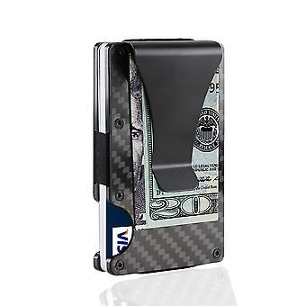 Titulaire de la carte fibre de carbone RFID Noir