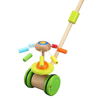 Classic World - Wooden Push and Pull Along Rotating Rainbow Carousel with Chimes