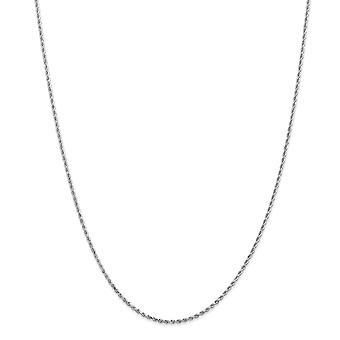 14kホワイトゴールドソリッドロブスタークロークロークロークロークロー1.5mmスパークルカットロープアンクレットロブスタークロージュエリーギフト女性のための贈り物 - 長さ:9