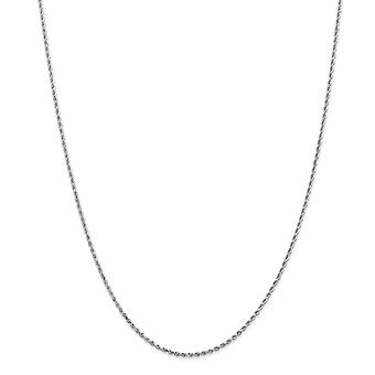 14k Branco Ouro Sólido Lagosta Claw Fechamento 1.5mm Brilho Corte corda Corda Joias Garra de Garra de Lagosta Joias para Mulheres - Comprimento: 9