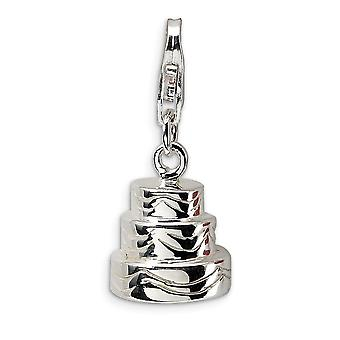 925 Sterling Silver Solid Polished Rhodium banhado Fancy Lobster Closure 3 D Wedding Cake with Lobster Clasp Charm Pendan