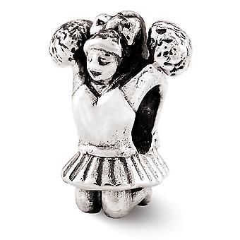 925 sterling silver polerad antik finish reflektioner Cheerleader pärla charm