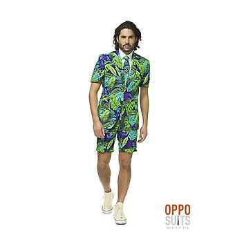 Juicy Jungle Jungle Tropical Suit Summersu Suit Slimline Hombres de 3 piezas Premium