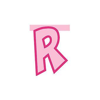 Linking Banner 20cm Pink Letter - R Party Decoration