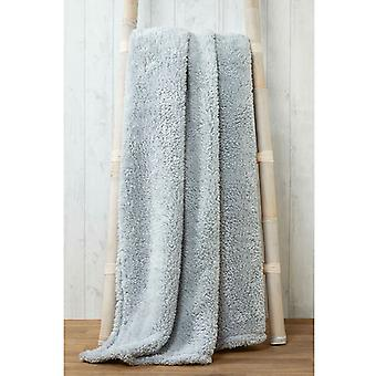 Snuggle beddengoed Teddy fleece deken gooien 200cm x 240cm-zilver