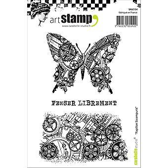 """Carabelle ستوديو """"الفراشة Steampunk"""" يتمسكون بالطوابع، الأبيض/شفافة، A6"""