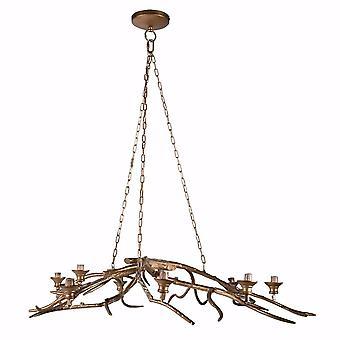 Tree Branch Style 8- Light Chandelier, Gold