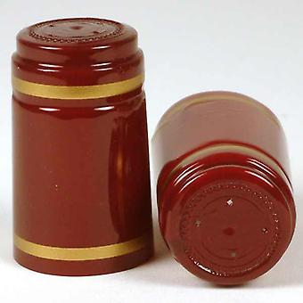Shrink Capsules - Dark Red With Gold Bands
