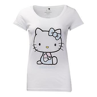 Bonjour Kitty Broderie Détails T-Shirt Femme X-Large Blanc (TS556805HKT-XL)