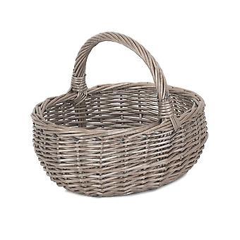 Gran cesta de compras de baño de mimbre de lavado antiguo sin forro