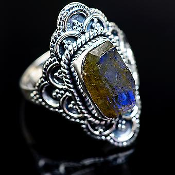 Grov Labradorite ring størrelse 8 (925 sterling sølv)-håndlavede Boho vintage smykker RING980657