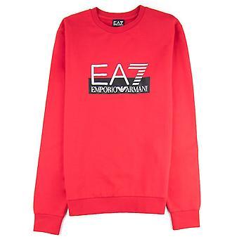 EA7 Logo Pullover Tango Rot