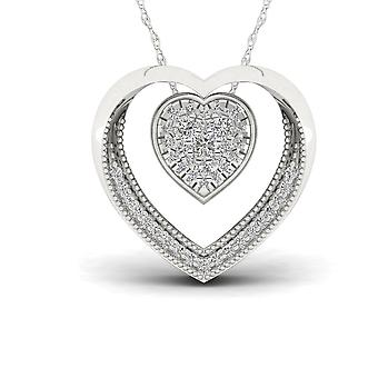 IGI Certified S925 Sterling Silver 0.22ct TDW Diamond Heart Necklace