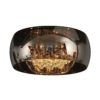 Luce di soffitto grigio cromato rotondo moderno in vetro perle lucide e fumo