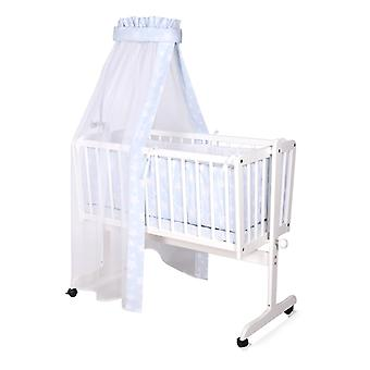 Lorelli baby cradle, baby swing Eva, white, wood, wheels, light, easy to move