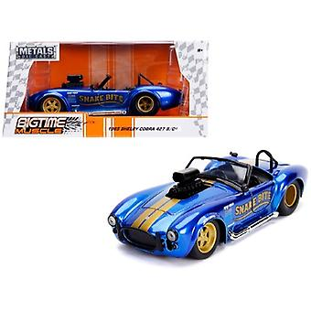 1965 Shelby Cobra 427 S/C Candy Blue With Gold Stripes Snake Bite Bigtime Muscle Series 1/24 Diecast Model Car By Jada