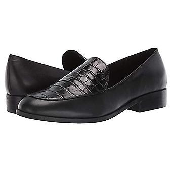 Easy Spirit Pip Black Leather Loafer Flats-Black-7-M