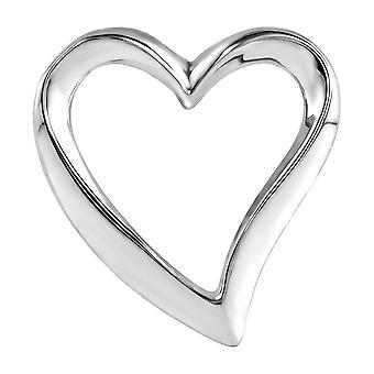 925 Sterling Sølv 16x15mm Polert Kjærlighet HjerteKjede Slide Smykker Gaver til kvinner - 0,7 Gram