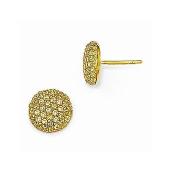 11mm Cheryl M 925 Sterling Argent 14k Gold Plaqué Jaune CZ Cubic Zirconia Simulated Diamond Post Boucles d'oreilles Bijoux Bijoux Bijoux