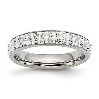 Edelstahl 4mm poliert Kristall Ring Schmuck Geschenke für Frauen - Ring Größe: 7 bis 9