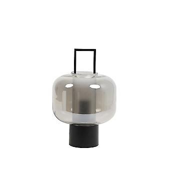 Lâmpada de mesa leve e viva 23x36cm Arturos Fumaça de vidro e preto emaranhado