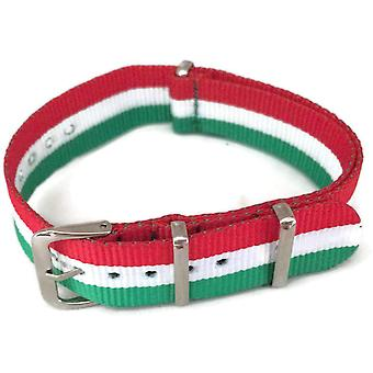 N.a.t.o zulu g10 style watch strap italian flag pattern and stainless steel buckle
