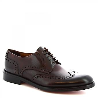 Leonardo Shoes Men-apos;s à la main derby brogues chaussures en cuir de veau brun brûlé