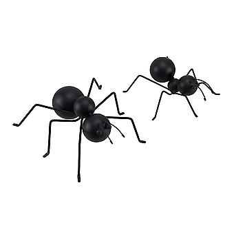 2 Piece Set of Decorative 6 Inch Metal Black Ant Statues