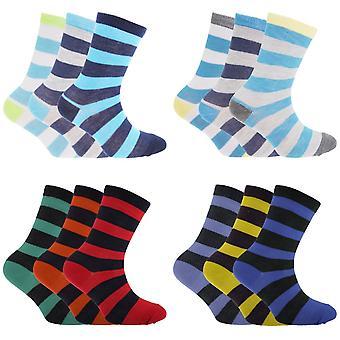 Детский/мальчики полосатые носки дизайн (упаковка из 3)