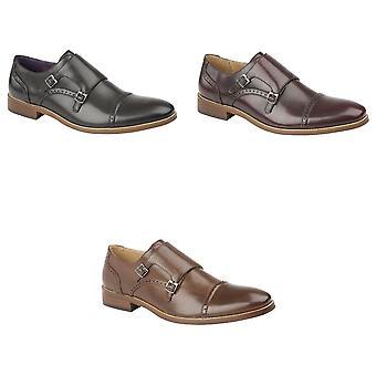 Goor Mens Twin Buckle Monk Shoes