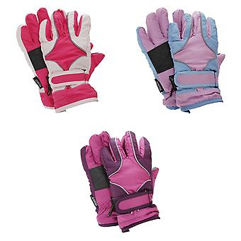FLOSO Childrens/Kids Girls Heavy Duty Waterproof Padded Thermal Ski/Winter Gloves