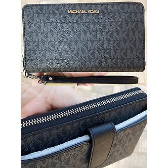Michael kors jet set medium zip around phone holder wallet wristlet black mk