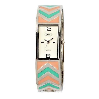 Eton Fashion Bangle Watch with Peach/Mint Chevron Pattern 3153L-CRMT