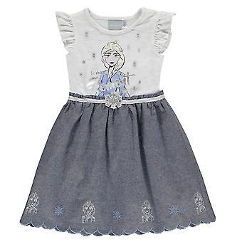 Garotas da personagem tecida vestido infantil manga curta midi vestido de verão casual