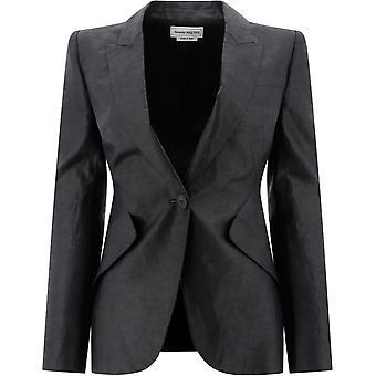 Alexander Mcqueen 620456qeab11000 Women's Black Linen Blazer