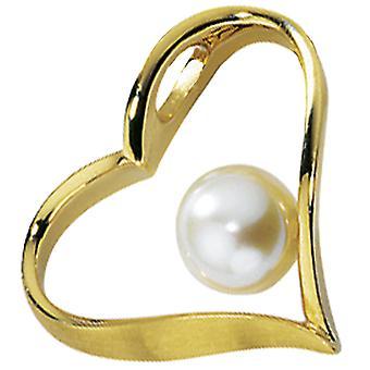 السيدات قلادة القلب 585 الذهب الذهب الأصفر مطفأ 1 المياه العذبة لؤلؤة اللؤلؤ قلادة