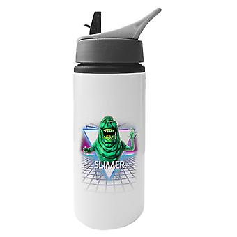 Slimer Ghostbusters Retro 80s Neon Landscape Aluminium Water Bottle With Straw