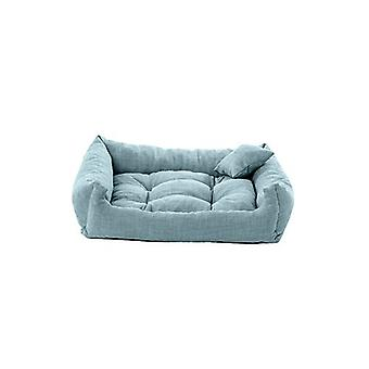 Pet Klub Duckegg 70cm x 55cm Medium Size Foam Crumb Filled Tufted Dog Bed in Textured Linen Feel Fabric Pet Klub Duckegg 70cm x 55cm Medium Size Foam Crumb Filled Tufted Dog Bed in Textured Linen Feel Fabric Pet