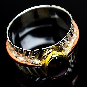 Garnet Copper Ring Size 8.5 (925 Sterling Silver)  - Handmade Boho Vintage Jewelry RING7847