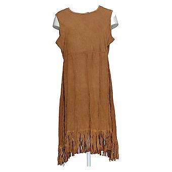 Back in the Saddle Dress Sleeveless Fringe Hem Light Brown
