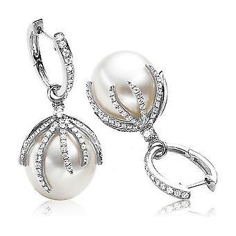 Luna-Pearls Pearl Earrings South Seas 12.5-13mm 750 WG Brilliant 0.74ct. 1022173