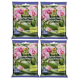 Sparset: 4 x COMPO leaf care cloths for orchids, 10 pieces