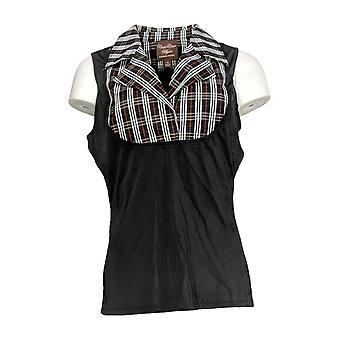 Kathleen Kirkwood Women's Top Tank Style w/ Notched Collar Black A369062