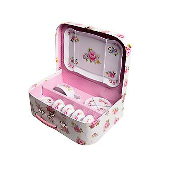 Floral Rose Childrens Tea Party Picnic Box Tea Set