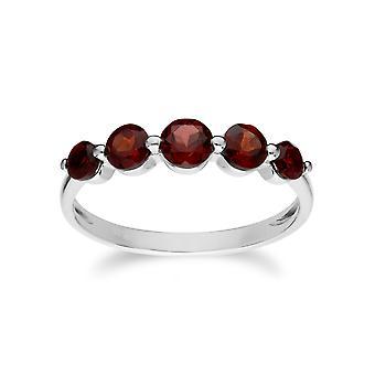 Unverzichtbare Runde Granat fünf Stein Farbteinbruch Ring in 925 Sterling Silber 270R055902925