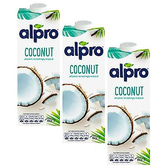 Alpro Coconut Original Milk Drink Azúcar GRATIS Low Fat Vegeterian Bebida 1 Ltr x 3