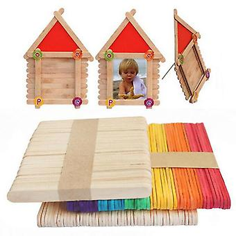 50pcs Wooden Popsicle Stick - Kids Hand Crafts Art Ice Cream Lolly & Cake DIY
